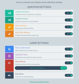 Settings for a Quizizz quiz