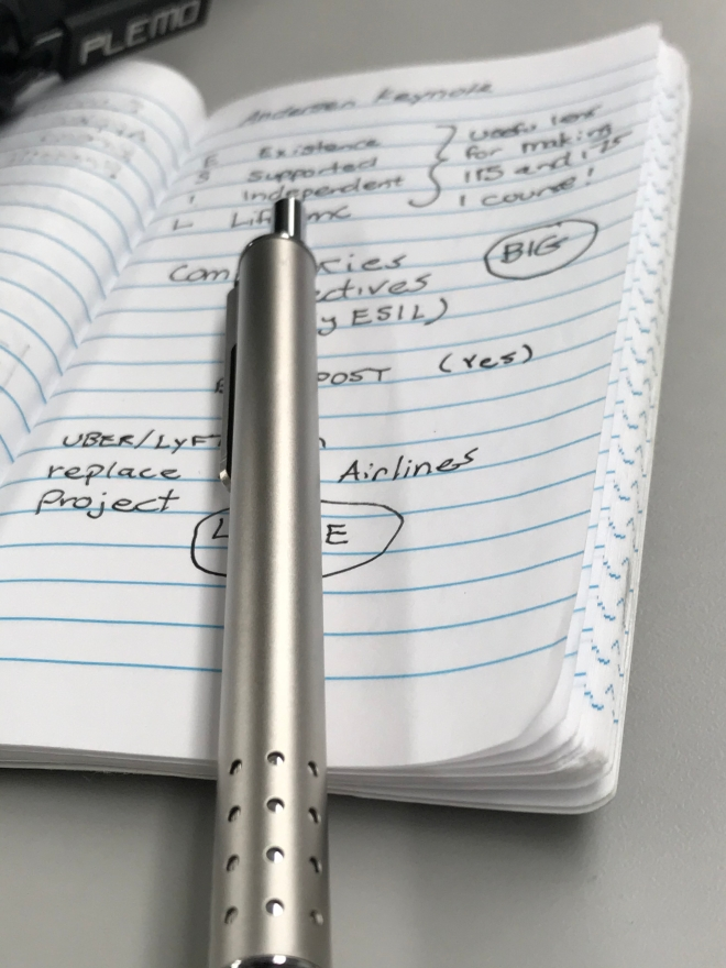 A silver pen on my session notes