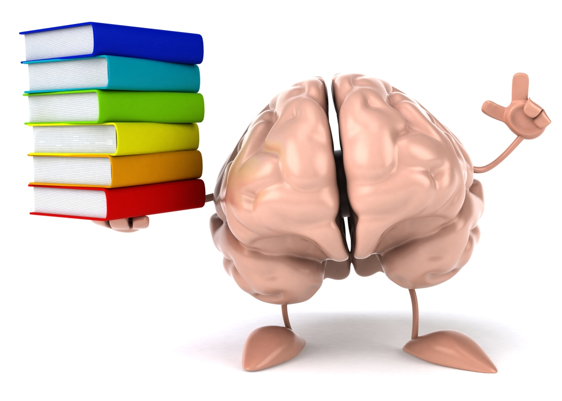 A brain holding books representing the library and because I own the rights already