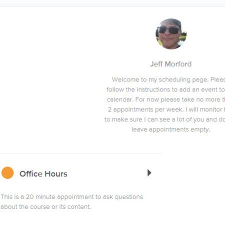 A view of the landing page for scheduling office hours with me