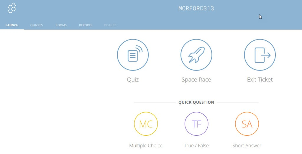 The landing page when you log into Socrative. It shows Quiz, Space Race, and Exit Ticket as the main options.