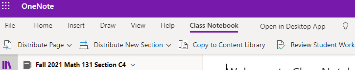 this shows where the classnotebook tab is in onenote for the web